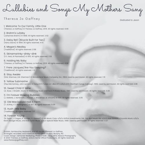 Lullabies and Songs My Mother Sang Back Cover Image